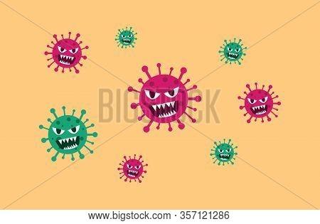 Covid-19, 2019-ncov. Coronavirus Covid 19, 2019 Ncov Peringatan. Virus Baru Dicoret Dengan Tanda Ber