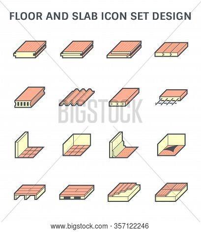 Wood Floor Tile Floor And Slab Vector Icon Set Design.