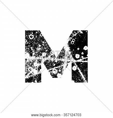 Painted Letter M. Grunge Alphabet Font. Abstract Handmade Sans Serif Typeface. Distress Textured Abc