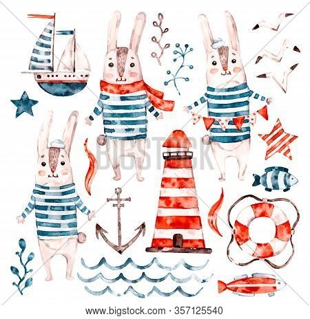 Nautical Watercolor Baby Rabbit Sailor, Animal Cartoon Nursery Seaman Set. Cute Childish Character C
