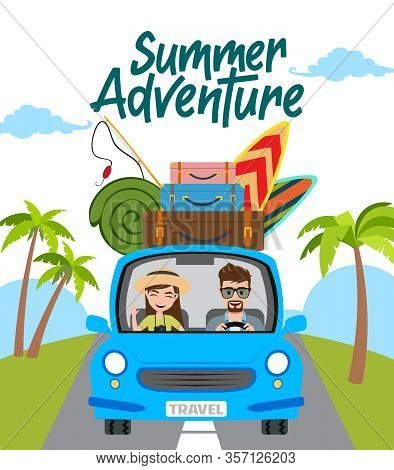 Summer Adventure Vector Concept Design. Summer Adventure Text With Travel Characters In Car Driving