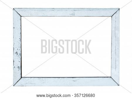 Vintage Wood Picture Frame In White Paint, Weathered. Object Isolated With Clipping Path On White Ba