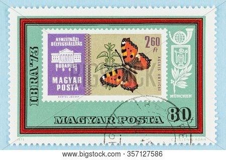 Seattle, Washington - March 22, 2020: Close Up Of Postage Stamp Of Magyar, Hungary, Featuring A Butt