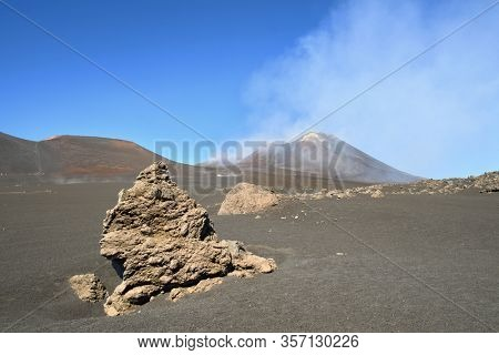 magmatic rock formation and Etna South-East summit crater, Sicily