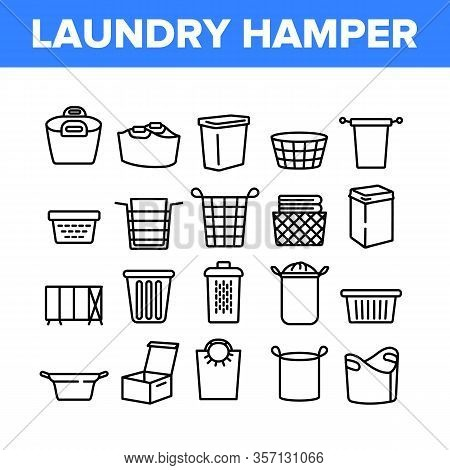 Laundry Hamper Basket Collection Icons Set Vector. Laundry Hamper And Bag For Dirty Clothes, Contain
