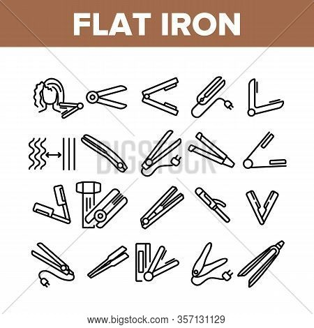 Flat Iron Equipment Collection Icons Set Vector. Flat Iron Hairdresser Device, Appliance For Beauty