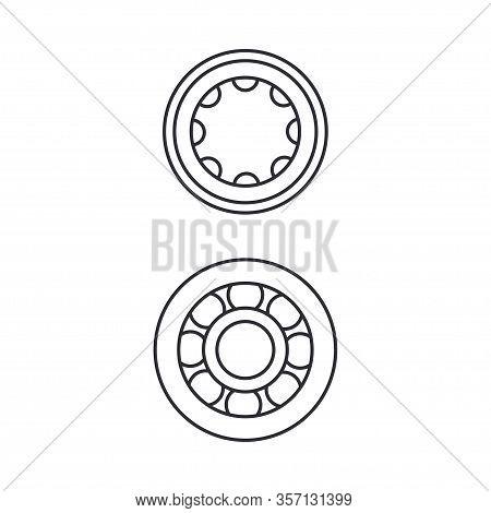 Line Vector Icon Set Auto Moto Parts Accessories Bearing. Repair Service Equipment. Engine Elements