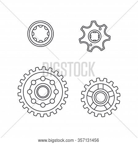 Line Vector Icon Set Auto Moto Parts Accessories Drive Gear. Repair Service Equipment. Engine Elemen