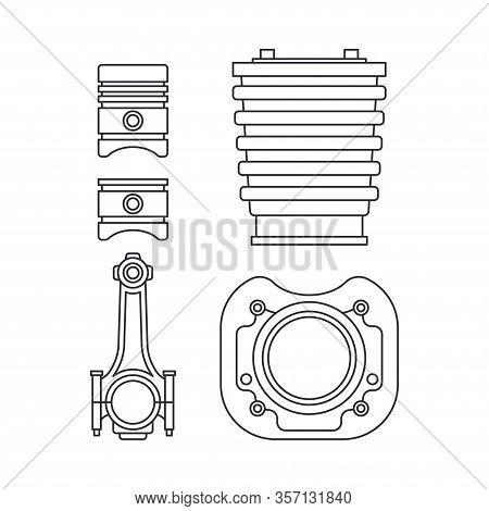 Line Vector Icon Set Auto Moto Parts Accessories Piston, Crankshaft. Repair Service Equipment. Engin