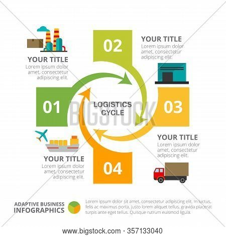 Cycle Chart With Four Elements. Process Chart, Diagram, Template. Creative Concept For Infographics,