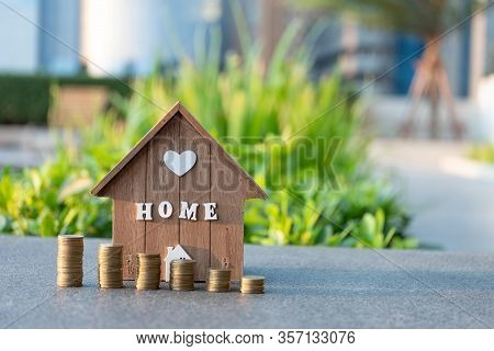 Home Loan With Coin Graph.refinance Your House With Copy Space.home Mortgage Credit.