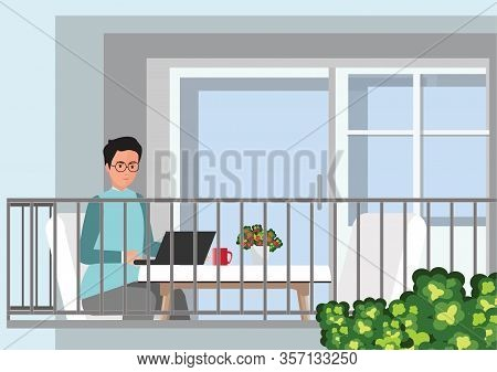 Young Professional Man Working From Home At His Desk With Laptop. Self Employed Conceptual Vector Il