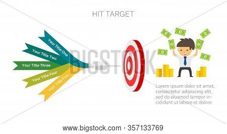 Target Infographics With Five Elements. Process Chart, Metaphor, Template. Creative Concept For Info