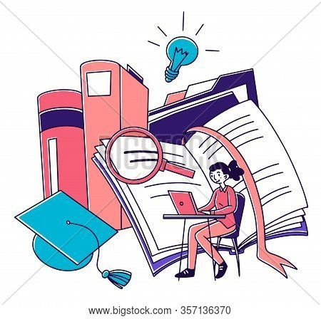 Student Girl Studying Online. Young Woman Using Laptop Near Textbooks, Graduation Hat. Vector Illust