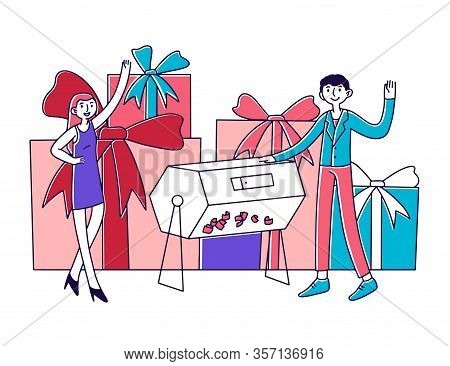 Lucky People Winning Prize Draw. Lottery Winners Turning Raffle Drum And Getting Gift Boxes. Vector