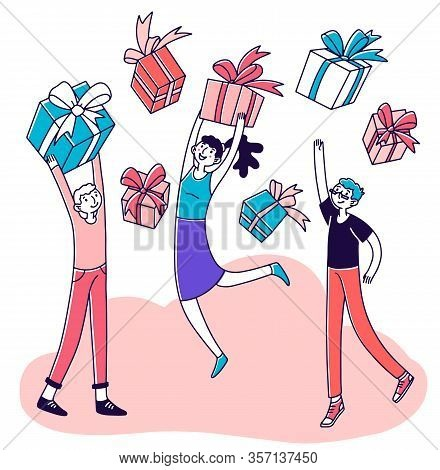 Loyal Store Customers Getting Reward. Young People Celebrating, Holding Gifts. Vector Illustration F