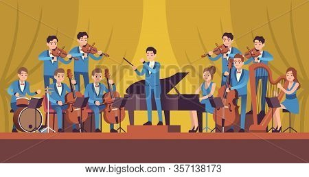 Symphony Orchestra. Classical Music Concert, Conductor And Musicians With Instruments Violin, Flute