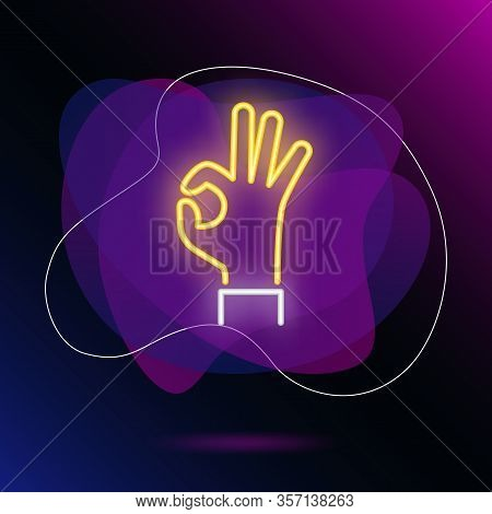Okay Neon Sign. Glowing Hand In Okay Gesture On Brick Wall Background. Vector Illustration Can Be Us