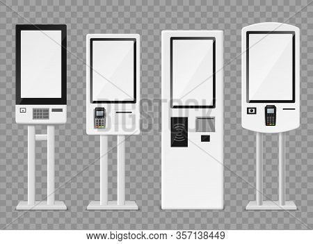 Self-ordering Kiosk. Floor Standing And Wall Interactive Kiosks, Terminal Self Payment For Fast Food