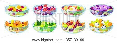 Fruit Salad Isolated Cartoon Set Icon. Bowl Of Vegetable Food Vector Cartoon Set Icon. Vector Illust
