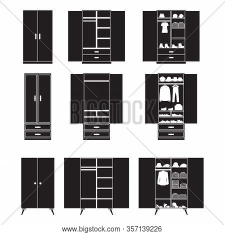 Wooden Cupboard Isolated Black Icon. Vector Illustration Room Furniture Of Wardrobe On White Backgro
