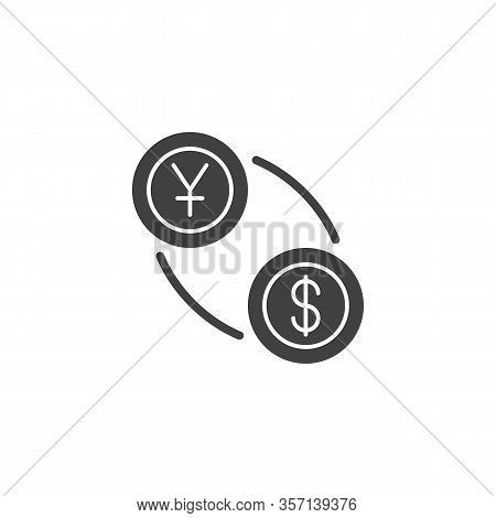Yen And Dollar Exchange Vector Icon. Filled Flat Sign For Mobile Concept And Web Design. Us Dollar W