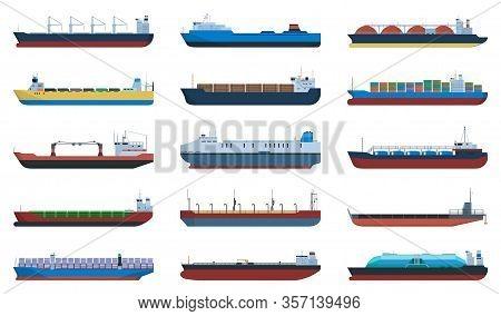 Barge Vector Cartoon Set Icon. Vector Illustration Cargo Ship On White Background. Cartoon Set Icon