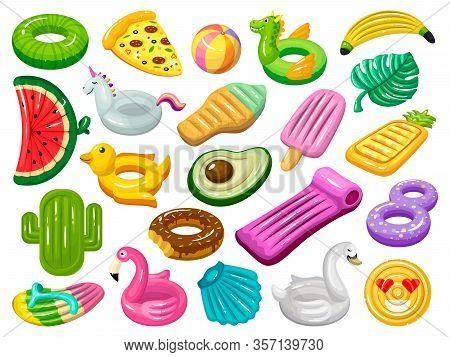 Water Mattress Vector Cartoon Set Icon. Vector Illustration Inflatable Swimming Equipment On White B