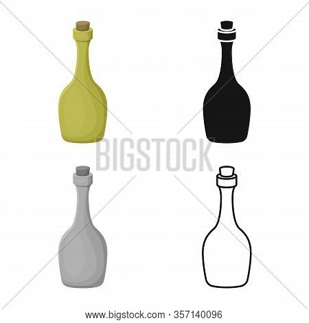 Vector Illustration Of Rum And Bottle Logo. Graphic Of Rum And Stopper Vector Icon For Stock.