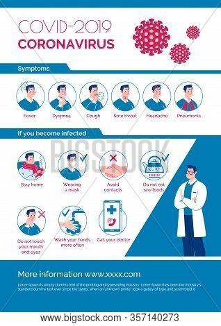 Epidemiological Coronavirus Informational Poster: Symptoms, Prevention, Contagion. Vector. Cartoon F