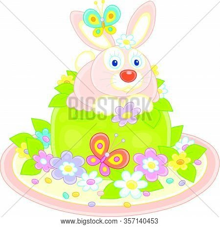 Fancy Easter Toy Hat Made Like A Sweet Holiday Cake With A Cute Pink Bunny, Colorful Flowers And Fli