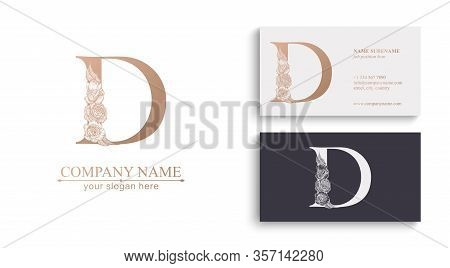 Letter D Logo Or Monogram. For Your Business. Vector Sign. Floral Style, Beautiful Roses. Personal L