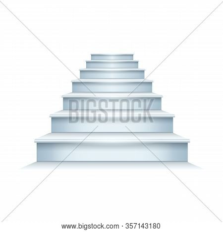 Stair Vector Icon.realistic Vector Icon Isolated On White Background Stair .