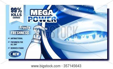 Mega Power Cleaner Promo Advertising Banner Vector. Blank Spray With Frosty Freshness, Antibacterial