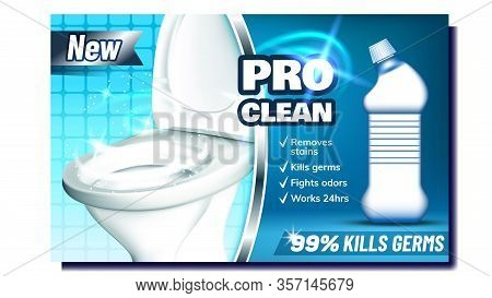 Pro Clean Creative Promo Advertising Banner Vector. Blank Bottle With Liquid For Clean Toilet, Kill