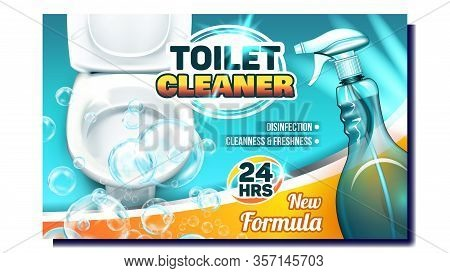 Toilet Cleaner Creative Advertising Poster Vector. Blank Spray With New Formula Liquid And Bubbles F