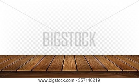 Wooden Stand Or Vintage Timber Tabletop Vector. Tavern Ancient Wooden Desks Table Place, Furniture D