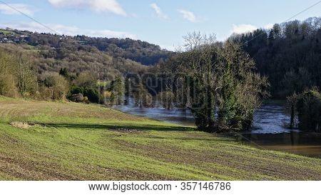 River Wye In Flood Below Kerne Bridge, Herefordshire, Uk