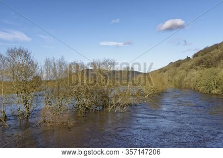 River Wye In Flood Viewed From Kerne Bridge Near Ross-on-wye, Herefordshire, Uk