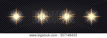 Set Of Shining Light Flash. Gold Glowing, Glitter Sparkles, Stars. Isolated On Transparent Backgroun