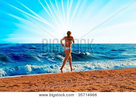 beautiful woman a on a vacant beach