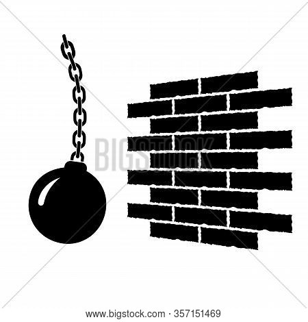 Large Pendulum Wall Demolition Icon. Ball Hanging From A Chain And Swinging In One Side.