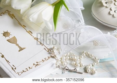 First Communion Baptism Composition With Christianity Symbols And White Tulips