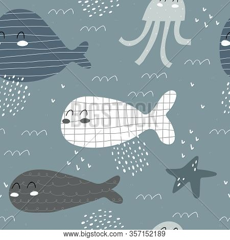 Seamless Pattern With Cartoon Whales, Octopus, Starfish, Decor Elements On A Neutral Background. Col