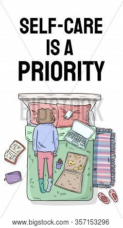 Self-care Is A Priority. Charge Your Inner Battery. Motivational Cartoon Postcard. Vertical Vector B