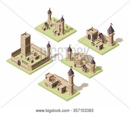 Castles Low Poly. Video Game Isometric Assets Medieval Buildings From Old Rocks And Bricks 3d Houses