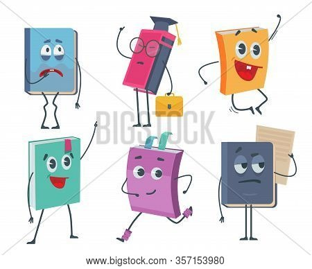 Books Characters. Cartoon Funny Faces Of Old Books Opened And Closed Vector Mascot Collection. Child