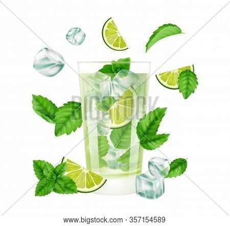 Mojito Cocktail. Summer Drink With Ice, Lime And Mint. Realistic Glass Seasonal Cold Cocktails. Isol
