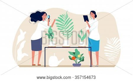 Planting And Gardening. Florists Women, Home Garden Concept. Botanists Study Plants In Pots. Harvest
