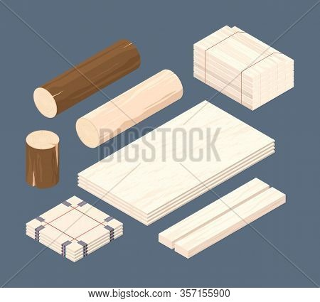 Wooden Isometric. Set Of Stacked Lumber Branches Pile Logging Timbers Vector Pictures. Woodworking I
